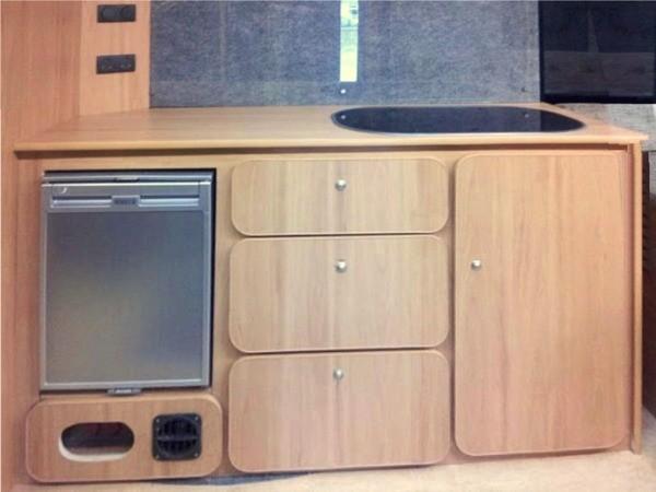 Closed kitchen sink and fridge in camper kitchen unit - Rv kitchen appliances ...