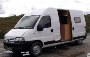 A van after conversion to a campervan - suitable vans for conversion include Mazda Bongo, Ford Freda, VW Transporter and many more. Call Céide Campervan Conversions, Ireland  on 087 2849338 for advice