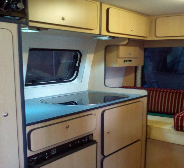 Kitchen area inside a  campervan conversion by Céide Campervan Conversions, Donegal,  Ireland