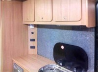 Kitchen cupboards & sink fitted by Céide Campervan Conversions, Co. Donegal, North-West Ireland