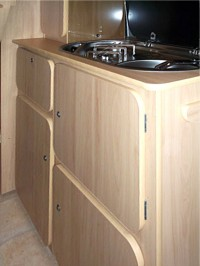 Kitchen sink units fitted by Céide Campervan Conversions, Co. Donegal, North-West Ireland