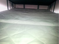 New bed with mattress fitted in van by Céide Campervan Conversions, Donegal, Ireland