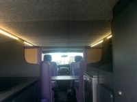 Overview of campervan showing oven, heater and cupboards fitted by Céide Campervan Conversions, Donegal, Ireland